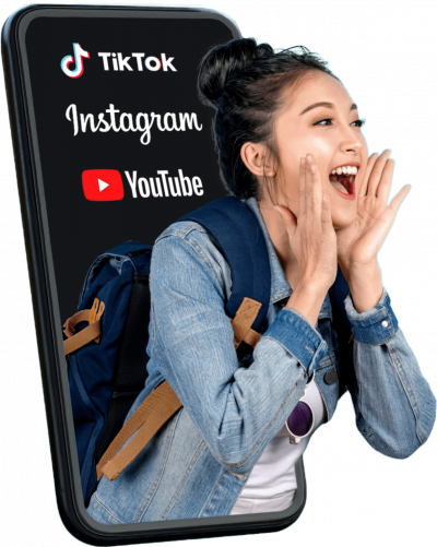 Teléfono Chica Gritando Influencer Tiktok Instagram Y Youtube